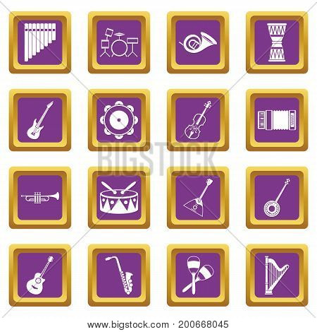 Musical instruments icons set in purple color isolated vector illustration for web and any design