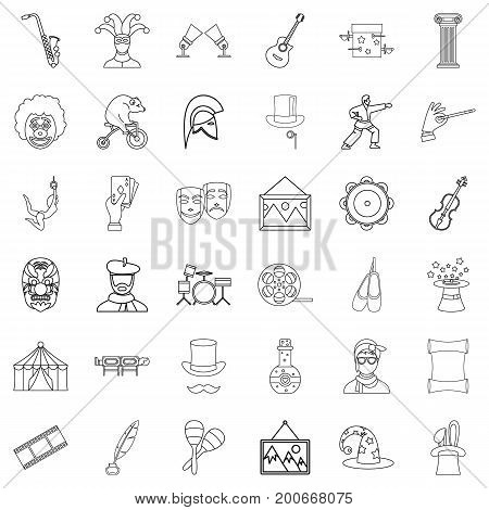 Art icons set. Outline style of 36 art vector icons for web isolated on white background