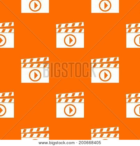 Clapperboard for movie shooting pattern repeat seamless in orange color for any design. Vector geometric illustration
