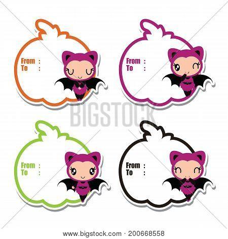 Cute bat girl on pumpkin frames vector cartoon illustration for halloween gift tag design, label tag, and postcard