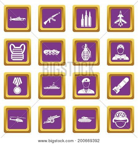 War icons set in purple color isolated vector illustration for web and any design