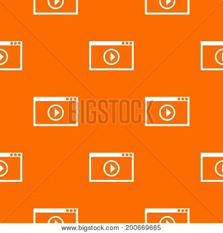 Program for video playback pattern repeat seamless in orange color for any design. Vector geometric illustration