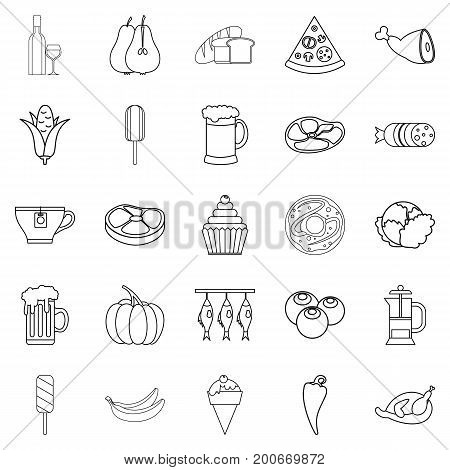 Binge icons set. Outline set of 25 binge vector icons for web isolated on white background