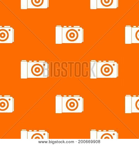 Photo camera pattern repeat seamless in orange color for any design. Vector geometric illustration