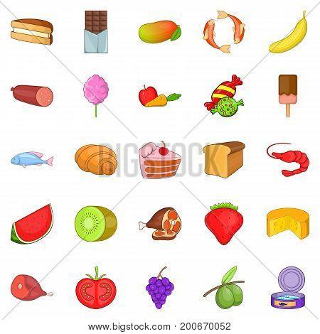 Fruit dessert icons set. Cartoon set of 25 fruit dessert vector icons for web isolated on white background