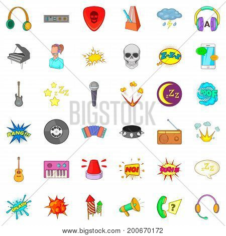 Audio icons set. Cartoon style of 36 audio vector icons for web isolated on white background