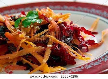 Sweet Beet Carrot Salad.  close up healthy meal