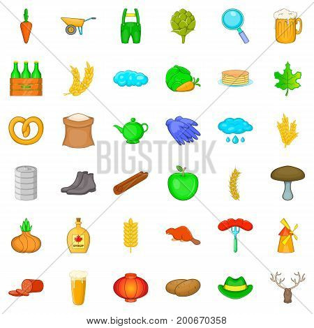 Autumn icons set. Cartoon style of 36 autumn vector icons for web isolated on white background