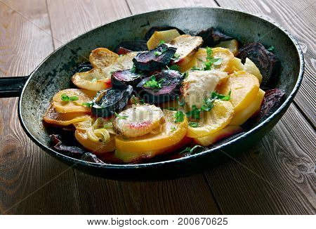 Beet and Turnip Gratin.close up healthy meal