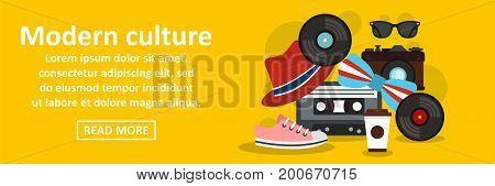 Modern culture banner horizontal concept. Flat illustration of modern culture banner horizontal vector concept for web