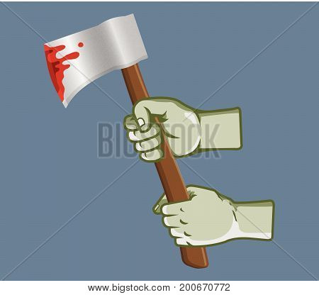 Vector illustration of zombie hand grab bleeding ax
