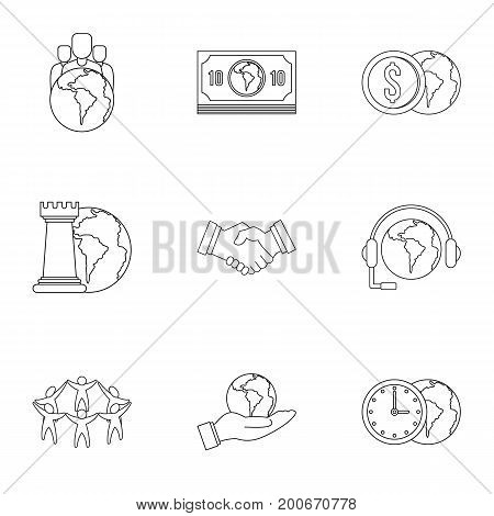 Global finance icon set. Outline set of 9 global finance vector icons for web isolated on white background