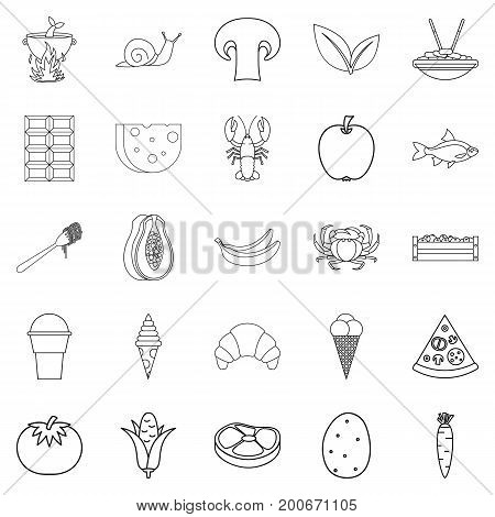 Edible icons set. Outline set of 25 edible vector icons for web isolated on white background
