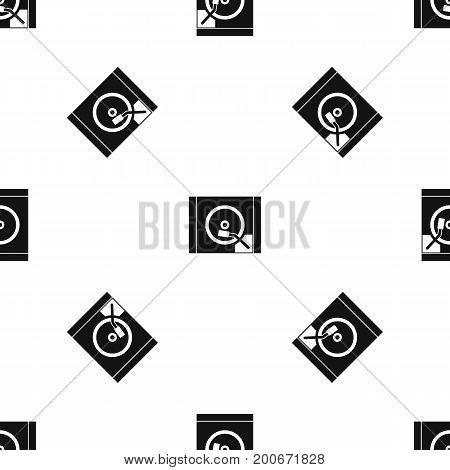 Turntable pattern repeat seamless in black color for any design. Vector geometric illustration