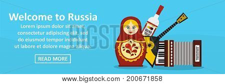 Welcome to russia banner horizontal concept. Flat illustration of welcome to russia banner horizontal vector concept for web