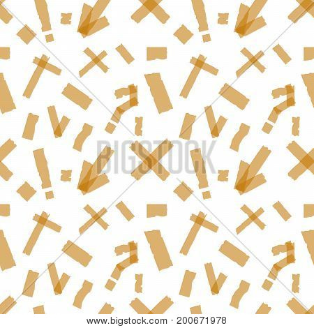 Seamless pattern of Adhesive tapes. Sticky glue scotch tape piece on white background Flat design Vector Illustration