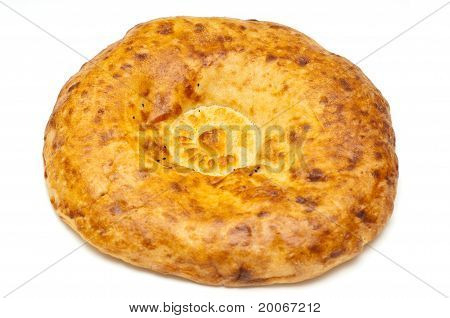 Round Shaped Fresh Bread Isolated On The White