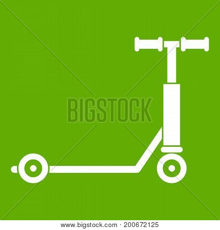Scooter icon white isolated on green background. Vector illustration
