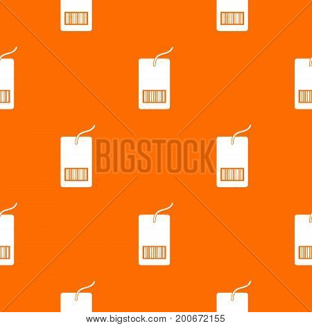 Tag with bar code pattern repeat seamless in orange color for any design. Vector geometric illustration