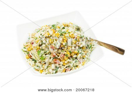 Russian Traditional Salad Olivie On White Background.
