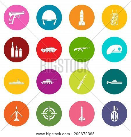 Military icons many colors set isolated on white for digital marketing