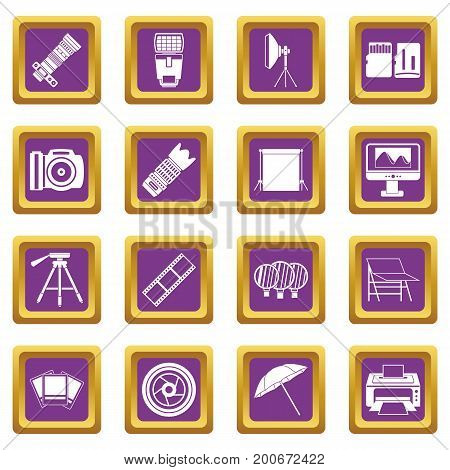 Photo studio icons set in purple color isolated vector illustration for web and any design