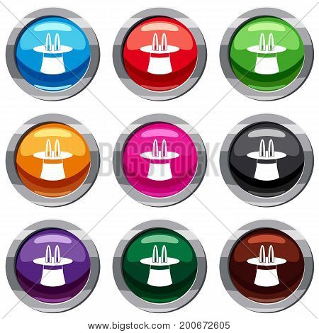 Rabbit ears appearing from a top magic hat set icon isolated on white. 9 icon collection vector illustration