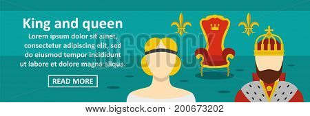 King and queen banner horizontal concept. Flat illustration of king and queen banner horizontal vector concept for web