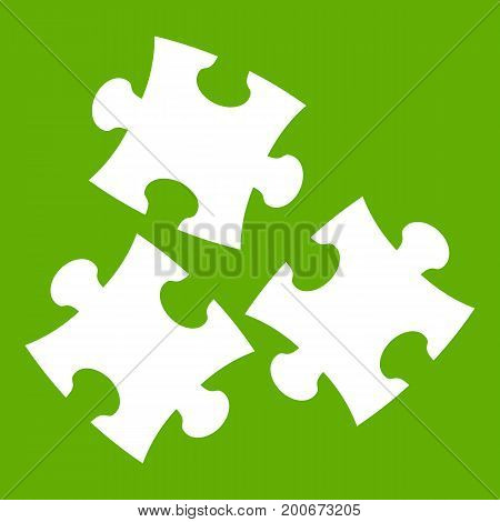 Puzzle icon white isolated on green background. Vector illustration