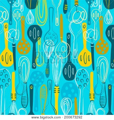 Stir Crazy Kitchen Pattern. Colorful hand-drawn spoons create a modern and whimsical background pattern.