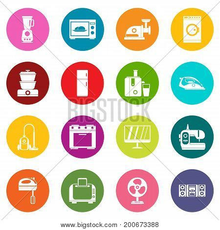Household appliances icons many colors set isolated on white for digital marketing