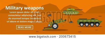 Military weapons banner horizontal concept. Flat illustration of military weapons banner horizontal vector concept for web