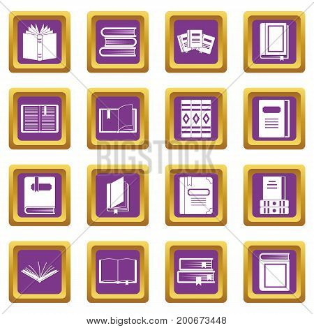 Books icons set in purple color isolated vector illustration for web and any design