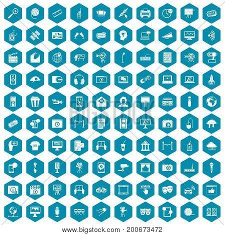 100 multimedia icons set in sapphirine hexagon isolated vector illustration