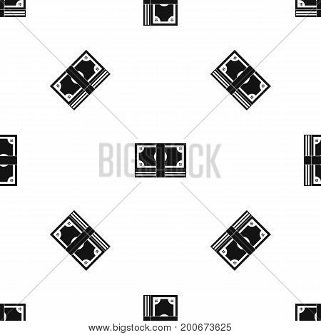 Bundle of money pattern repeat seamless in black color for any design. Vector geometric illustration