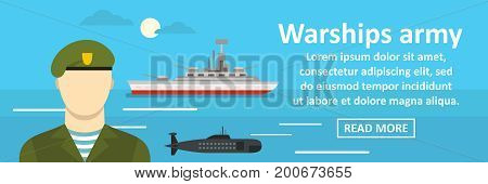 Warships army banner horizontal concept. Flat illustration of warships army banner horizontal vector concept for web