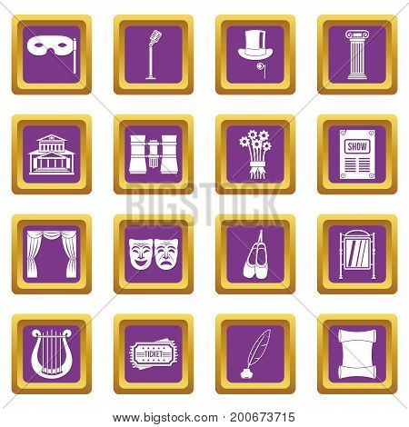 Theater icons set in purple color isolated vector illustration for web and any design