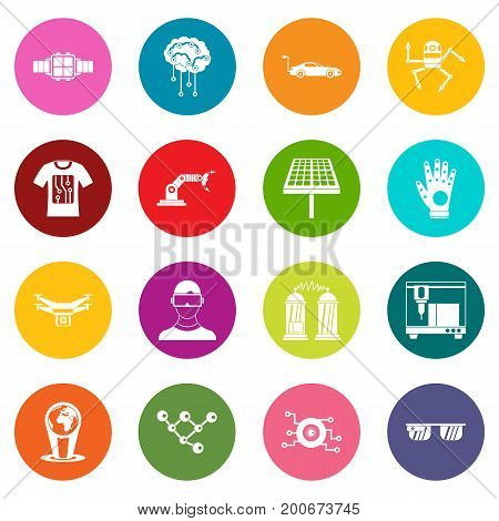 New technologies icons many colors set isolated on white for digital marketing
