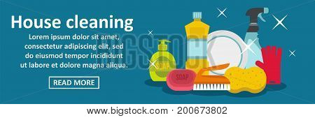 House cleaning banner horizontal concept. Flat illustration of house cleaning banner horizontal vector concept for web