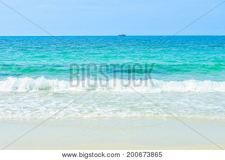 sea beach blue sky sand sun daylight relaxation landscape viewpoint for design postcard and calendar in Thailand. sea background. beach background. sea landscape background white sand background