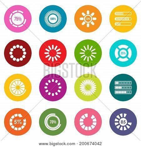 Loading bars and preloaders icons many colors set isolated on white for digital marketing
