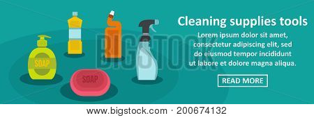 Cleaning supplies tools banner horizontal concept. Flat illustration of cleaning supplies tools banner horizontal vector concept for web