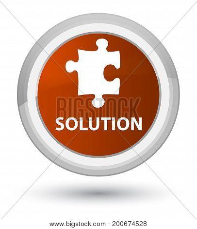 Solution (puzzle Icon) Prime Brown Round Button