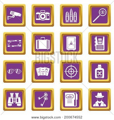 Spy tools icons set in purple color isolated vector illustration for web and any design