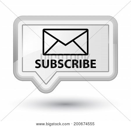 Subscribe (email Icon) Prime White Banner Button
