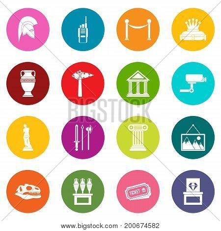 Museum icons many colors set isolated on white for digital marketing