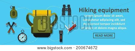 Hiking equipment banner horizontal concept. Flat illustration of hiking equipment banner horizontal vector concept for web
