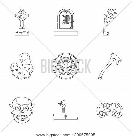 Zombie teritory icon set. Outline set of 9 zombie teritory vector icons for web isolated on white background