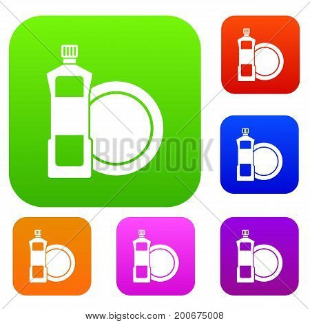 Dishwashing liquid detergent and dish set icon in different colors isolated vector illustration. Premium collection