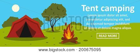 Tent camping banner horizontal concept. Flat illustration of tent camping banner horizontal vector concept for web